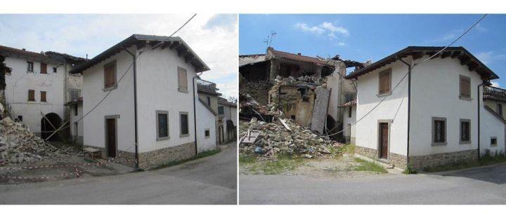 Fig. 7 Edificio 6 ed edifici limitrofi: post terremoto 24 agosto M 6.0 (sx) e post terremoto 30 ottobre M 6.5 Foto ©Consorzio Poroton®
