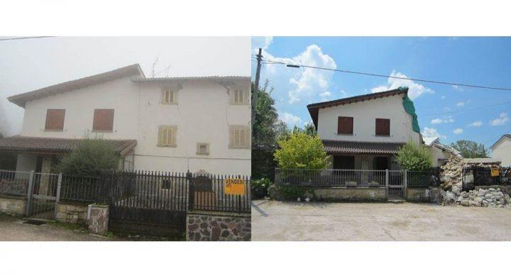 Fig. 8: Edificio 8 ed edificio adiacente: post terremoto 24 agosto M 6.0 (sx) e post terremoto 30 ottobre M 6.5 (dx). Foto © Consorzio POROTON®