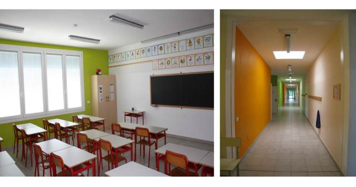 Fig.3: Viste interne del corpo aule in muratura armata POROTON® della scuola primaria di Mortizzuolo di Mirandola. Foto © Consorzio POROTON®