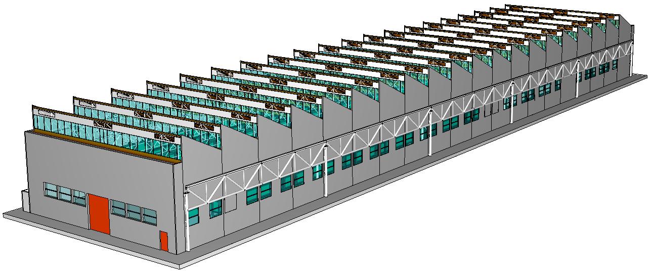 Figura 1. Modello del fabbricato magazzino ricostruito per le simulazioni di incendio