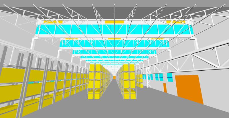 Figura 8. Modello geometrico 3D, vista interna con scaffali