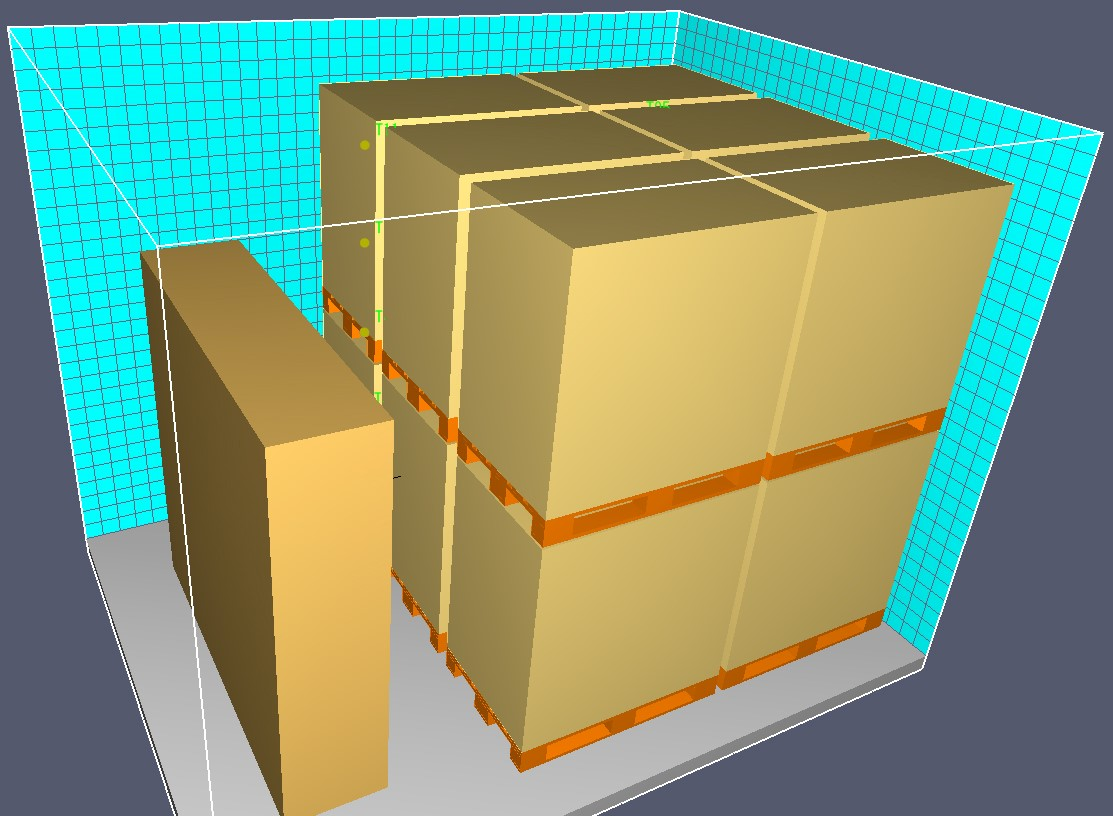 Figura 9. Modello FDS per analisi comportamento dei materiali al fuoco