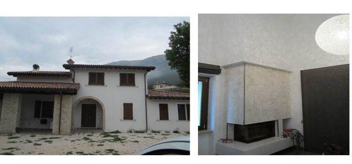 Fig. 5: Edificio 2 (post-terremoto 24 agosto M 6.0): vista esterna del fronte principale (sx) e dettaglio del caminetto nella zona giorno a doppia altezza (dx). Foto © Consorzio POROTON®