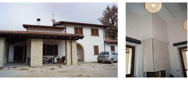 Fig. 8: Edificio 2 (post-terremoto 30 ottobre M 6.5): vista esterna del fronte principale (sx) e dettaglio del caminetto nella zona giorno a doppia altezza (dx). Foto © Consorzio POROTON®