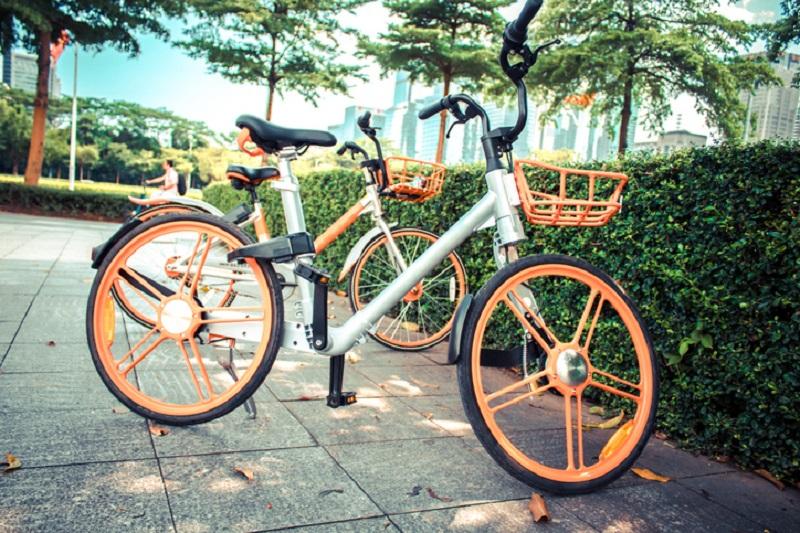 Le bici a ruote piene del bike sharing a flusso libero
