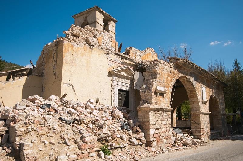 Veduta delle macerie a Visso, piccolo comune del Maceratese, colpito dal terremoto nel 2016