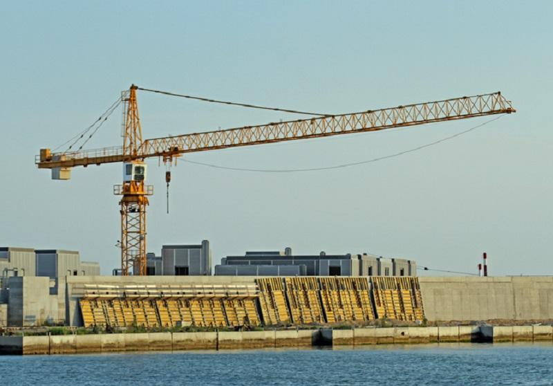 Una fase del cantiere del Mose a Venezia