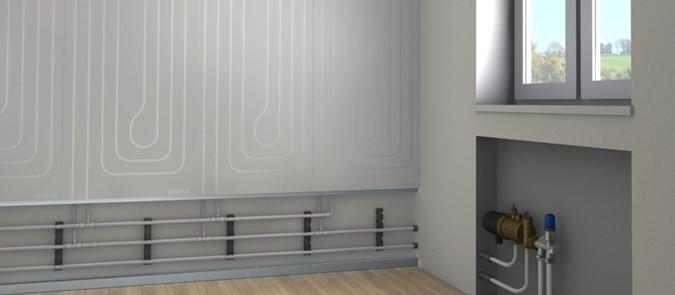Figura 2. Sistema radiante a soffitto (a sinistra, Fonte: LOEX) e a parete (a destra, fonte: UPONOR)