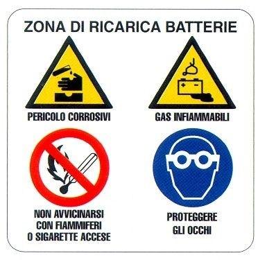 Zona di ricarica batterie - Obblighi e divieti
