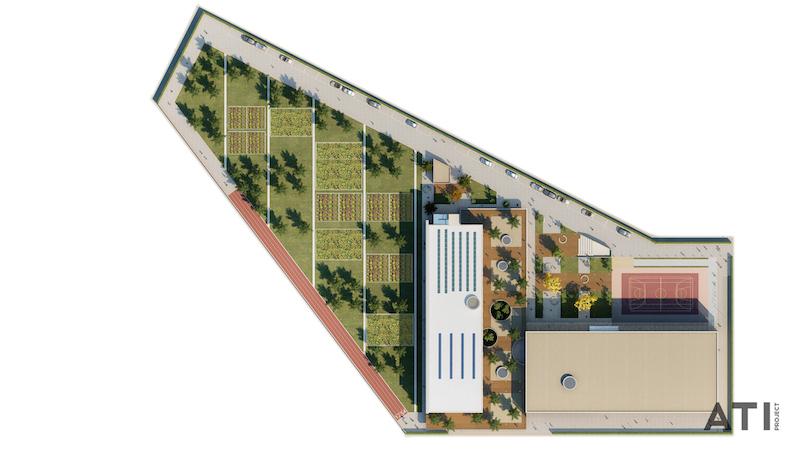 Scuola media via Strozzi, Milano - vista dall'alto, planivolumetrico © ATIproject