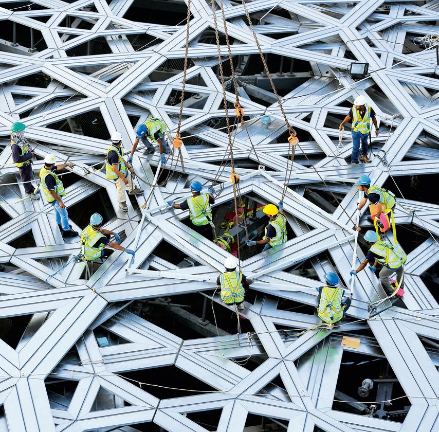 Cupola Louvre Abu Dhabi - costruzione - courtesy TDIC-AJN