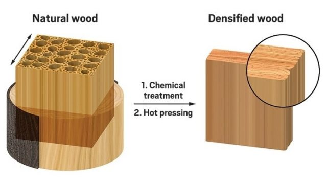 """""""super Legno"""" - processo di ottenimento del legno densificato pressato - courtesy of Nature"""