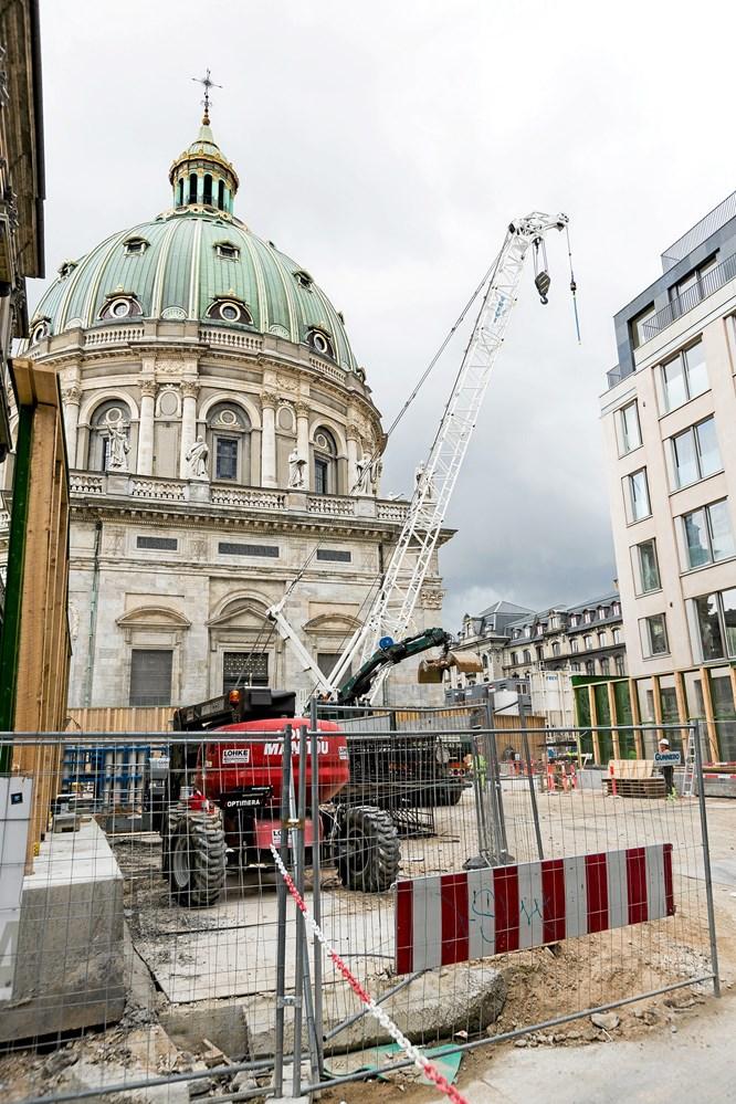 Lavori sul progetto della metropolitana di Copenhagen- Stazione di Marmorkirken, progetto seguito dalla DMS