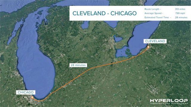 Il percorso del treno Hyperloop negli Stati Uniti