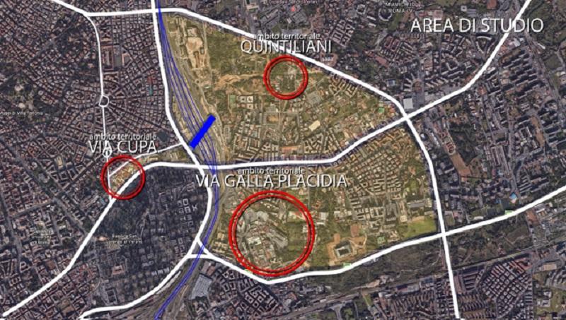 Le aree di intervento del concorso di idee promosso dall'Acer Roma per il quartiere Tiburtino