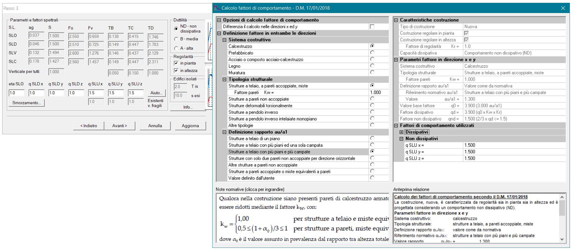 Figura 4 PRO_SAP calcolo fattore di comportamento