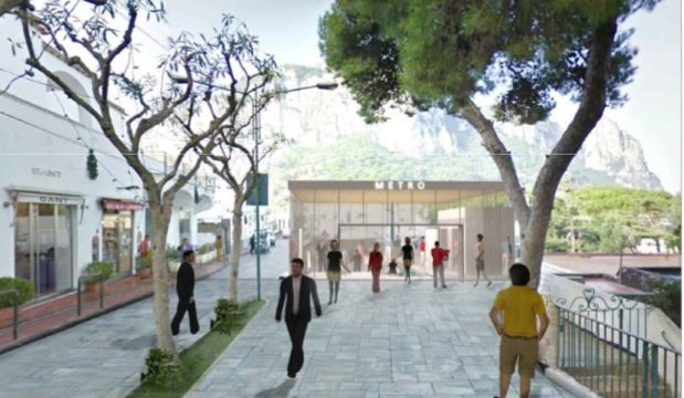 Il rendering dell'ingresso della stazione Capri Europa