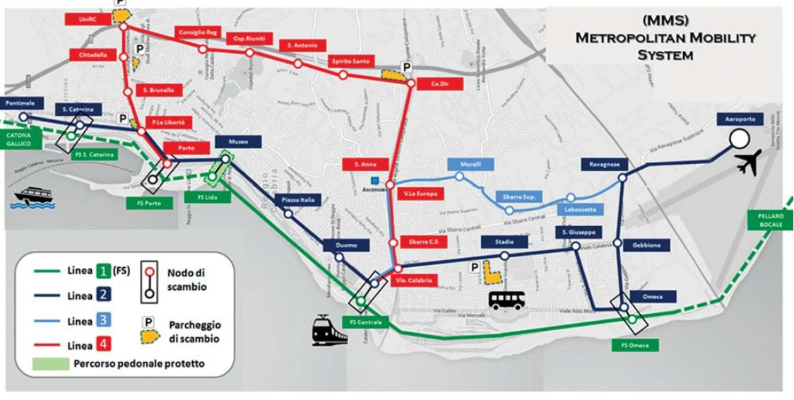 "Figura 3 - ""Metropolitan Mobility Sistem"" di Reggio Calabria (Ingegneria Ferroviaria - n. 2 - febbraio 2018)"