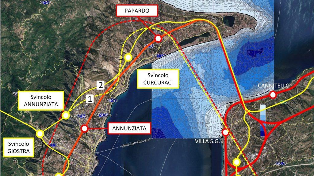 Dettaglio della mappa dell'ipotesi di attraversamento stabile dello Stretto di Messina- a cura dell'Ing. Saccà