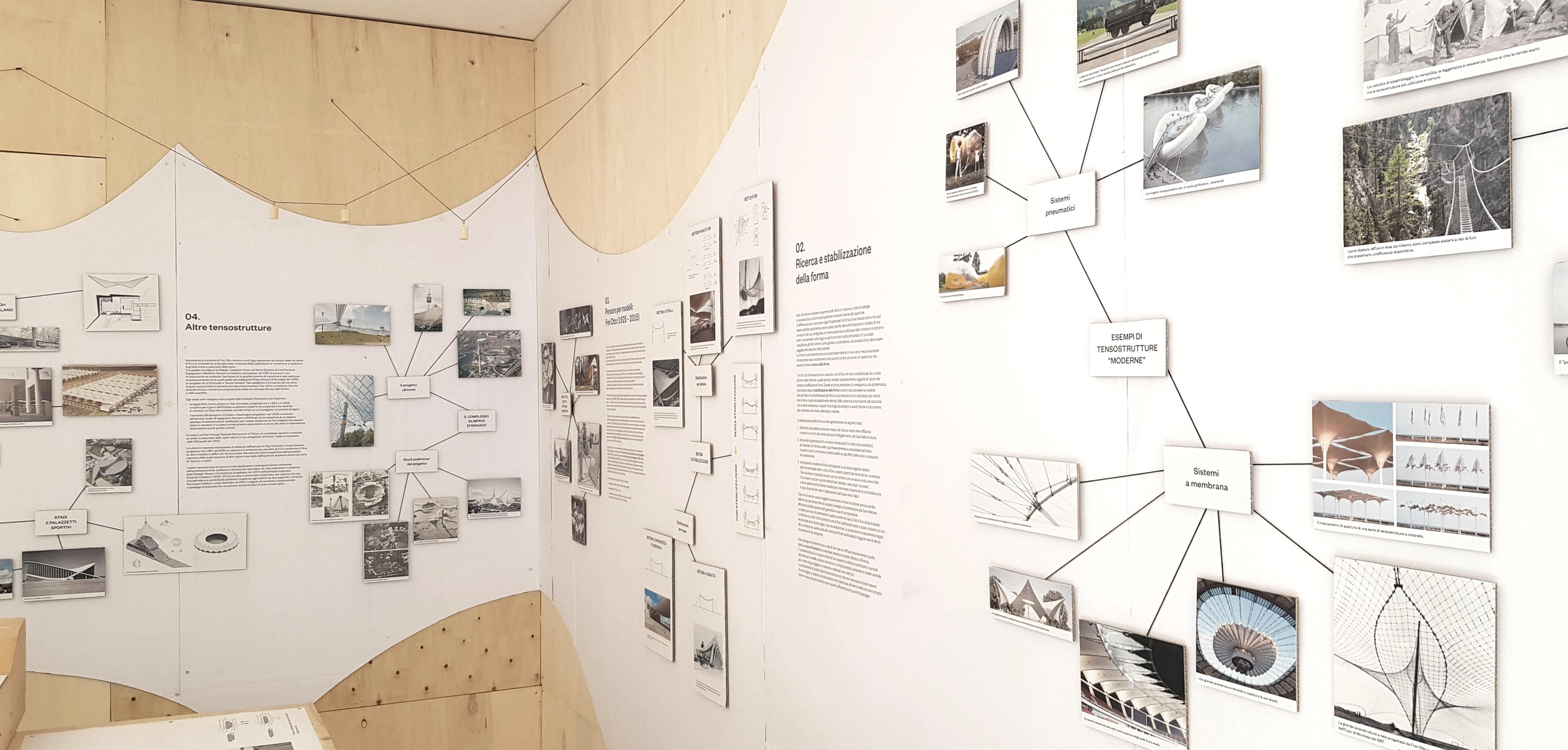La mostra è una raccolta di riferimenti, studi e prototipi sul tema delle tensostrutture © Marco Peroni Ingegneria
