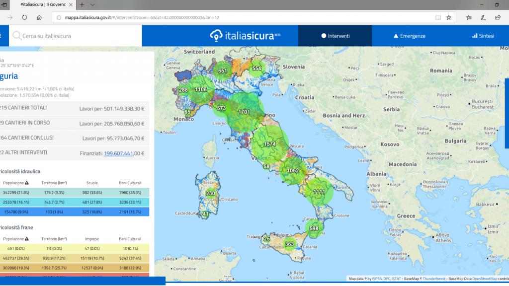 Consultazione Mappe Cantieri Italia Sicura: individuazione degli interventi per ciascuna regione, ad esempio Liguria