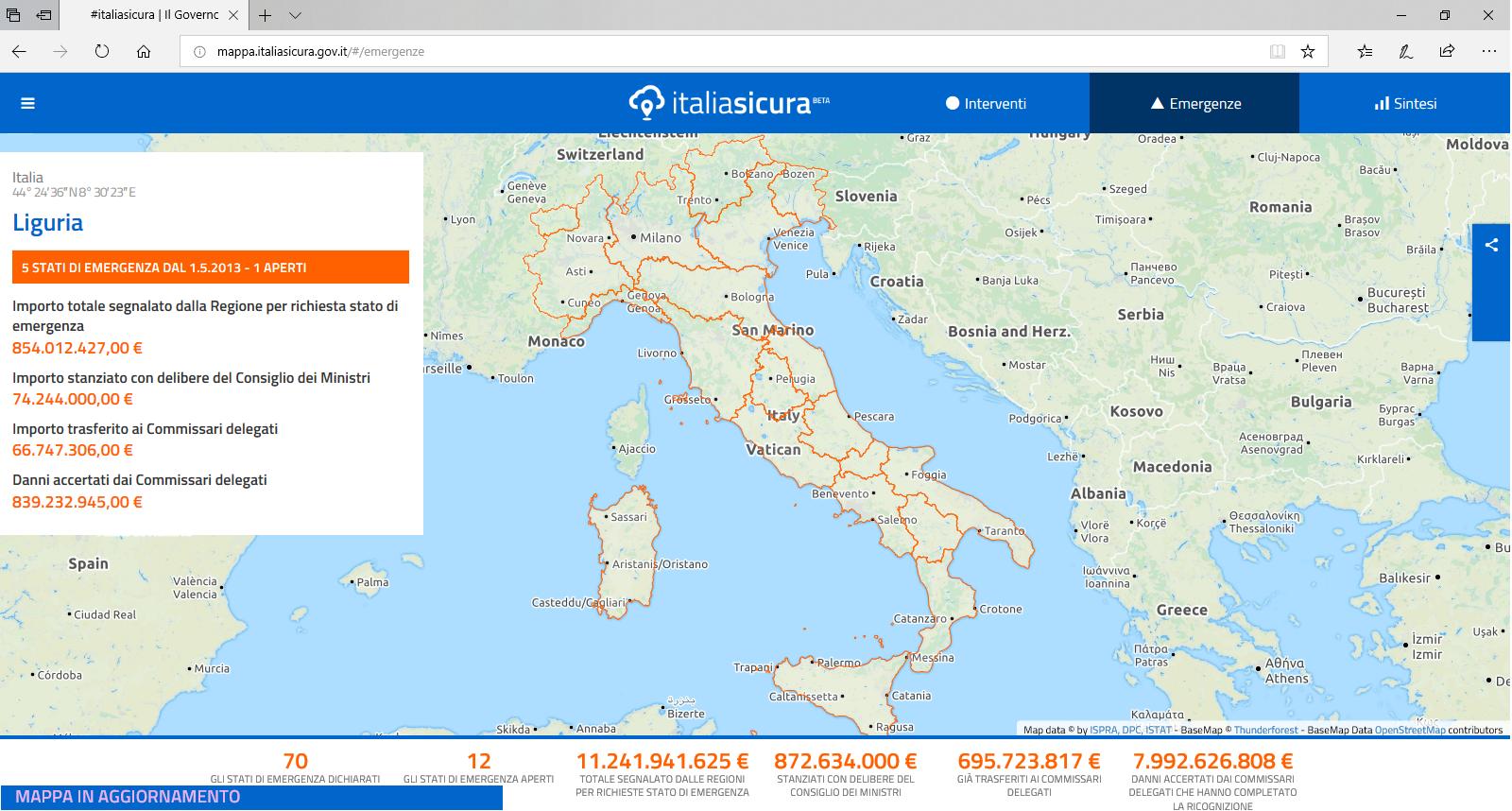 Consultazione Mappe Cantieri Italia Sicura: individuazione delle segnalazioni regione per regione e annessa richiesta economica