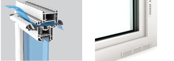 Bocchette di areazione integrate nel telaio