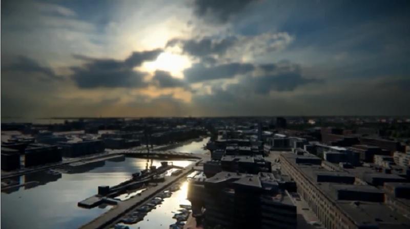 Uno scorcio della Helsinki in modalità 3D