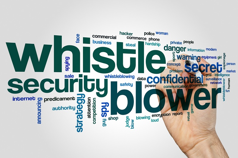 Whistle blower word cloud concept