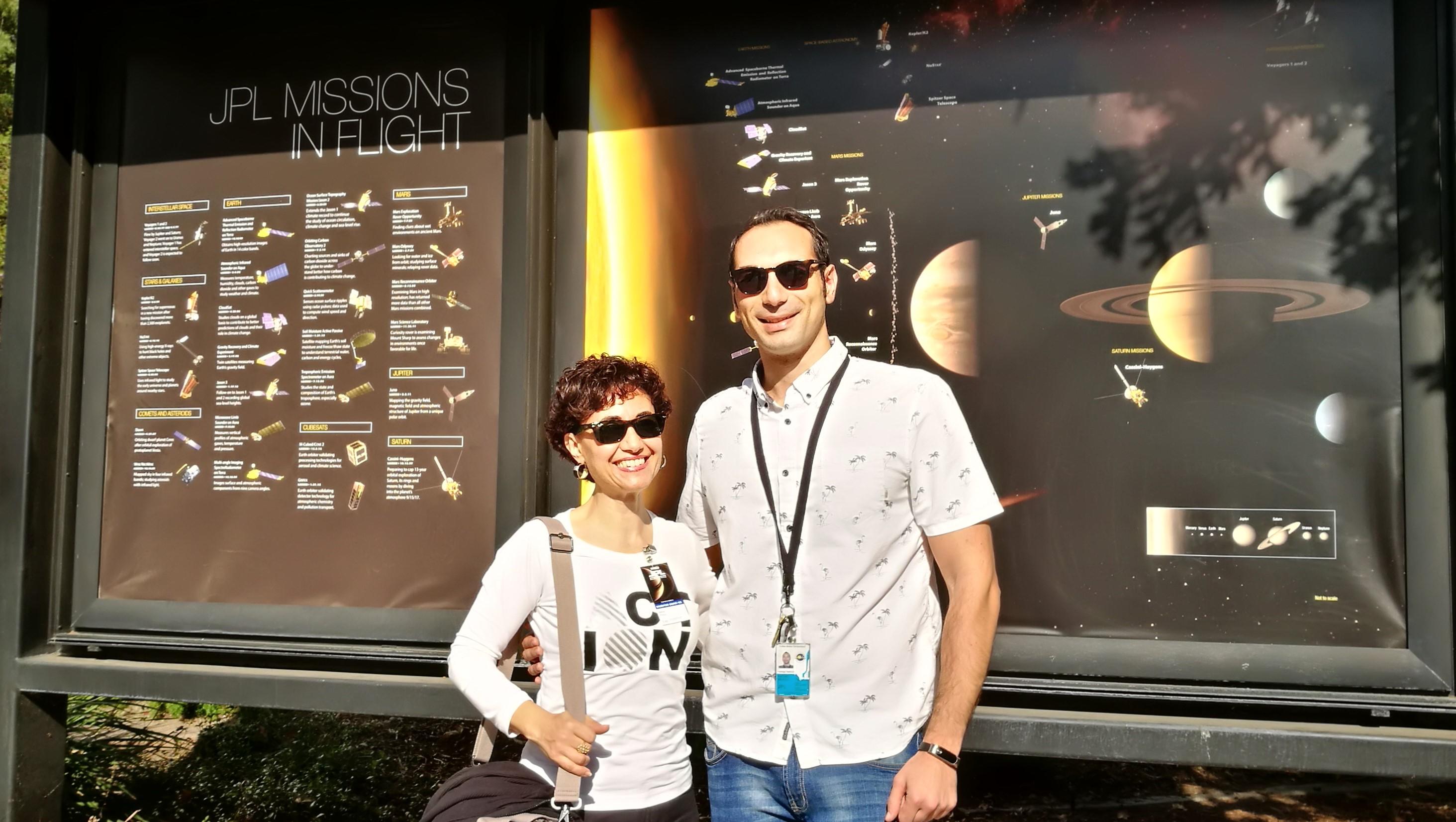 Maria Cristina Porcu e Pietro Milillo al NASA JPL, a Los Angeles nel novembre 2017.