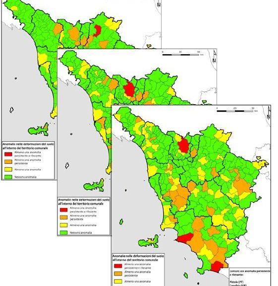 """Restituzione del prodotto """"Monitoring"""" aggregata a livello comunale: in verde i Comuni privi di anomalie, giallo riscontrata almeno un'anomalia, arancione indica la presenza di un'anomalia persistenze, rosso la persistenza di un'anomalia rilevante."""