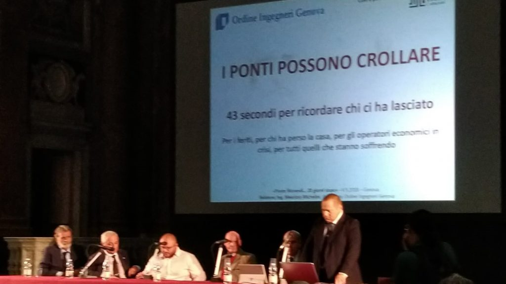 """I relatori del convegno """"Ponte Morandi, 20 giorni dopo"""", Genova, 4 settembre"""