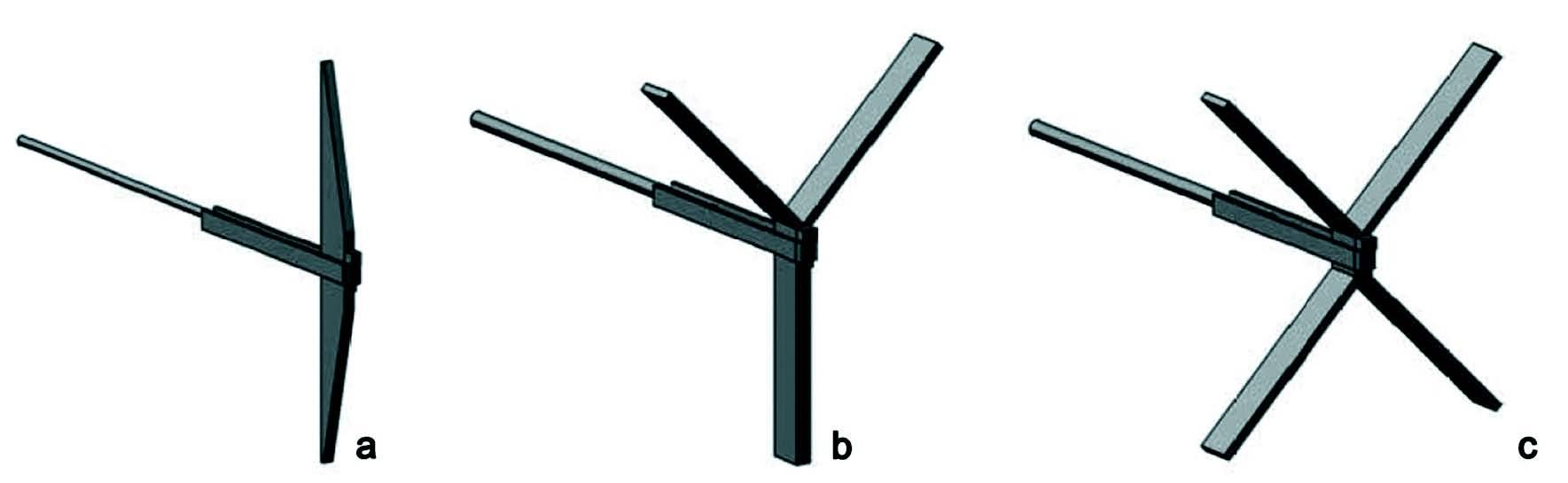 Fig. 5 a) Paletto; b) diramazione a Y; c) diramazione a X.