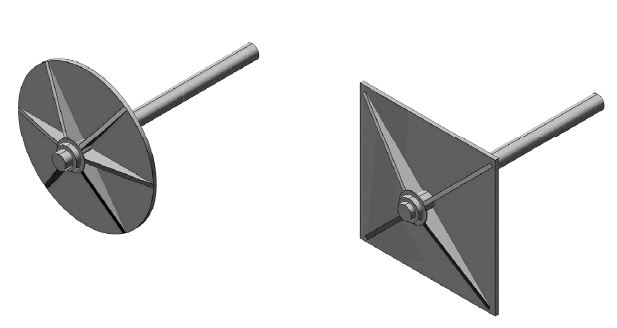Fig. 7 Esempio di irrigidimento di piastre capochiave circolari e quadrate.