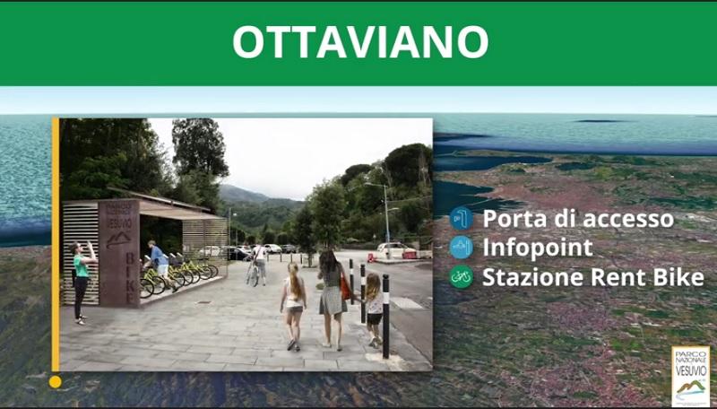 Il rendering di una delle stazioni di accesso previste per il Parco Nazionale del Vesuvio