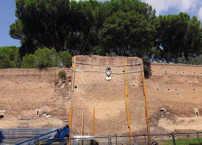 Una parte dell'intervento sulle Mura Aureliane (fonte www.enea.it)