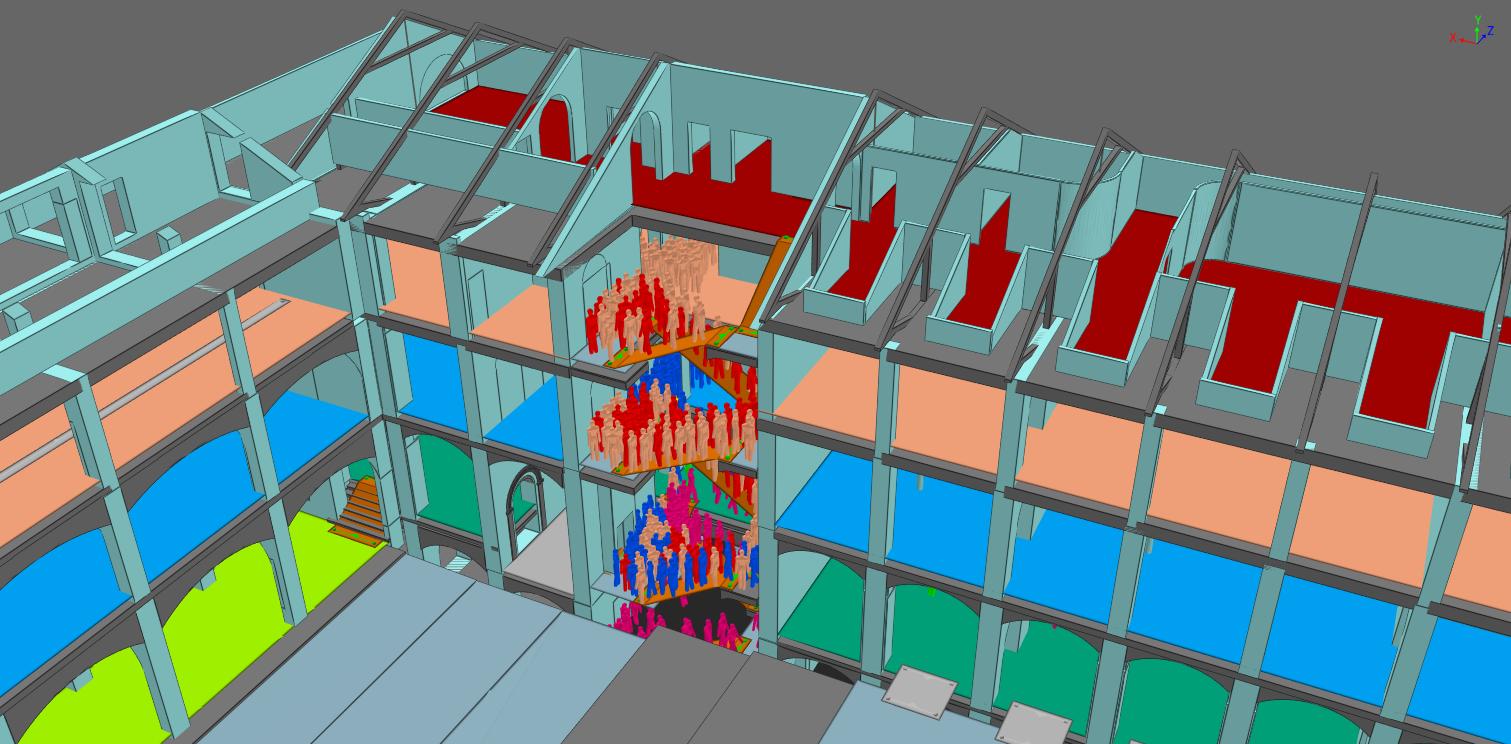 Figura 9. Esempio di simulazione di esodo di un intero fabbricato tutelato