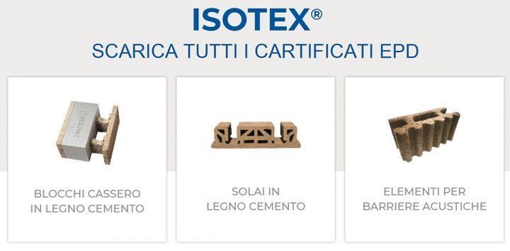 Gamma prodotti isotex con certificati EPD